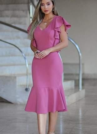 Vestido midi rosa festa elegante clássico
