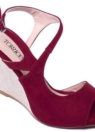 Sandália anabela feminina camurça vermelho