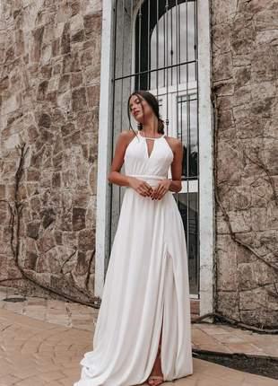 Vestido de noiva branco off white longo civil noivado fenda bojo