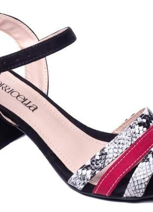 Sandália feminina camurça preto camurça vermelho e cobra