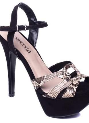 Sandália meia pata  camurça preto e cobra bege
