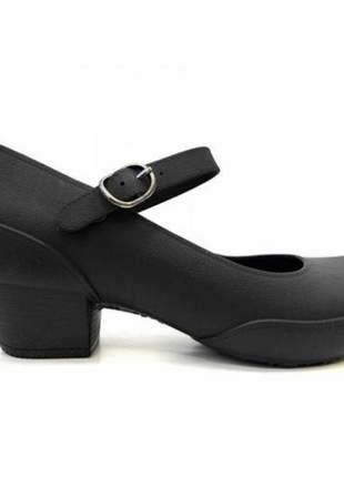 Sapato feminino scarpin boa onda anatômico impermeável preto 1208