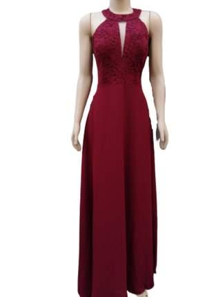 Vestido de festa marsala madrinha formanda longo bojo busto em renda um luxo