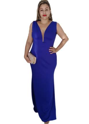 Vestido de festa azul royal longo decotado social madrinha