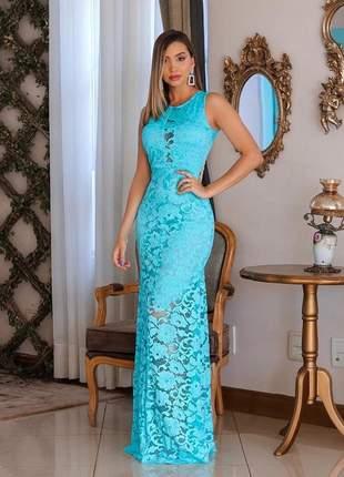 Vestido azul tifanny de festa longo