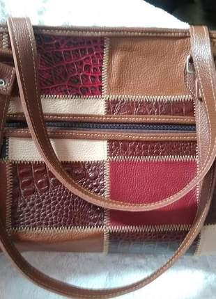 Bolsa em couro legitimo big-bag em patchwork de couro direto do fabricante artesanal