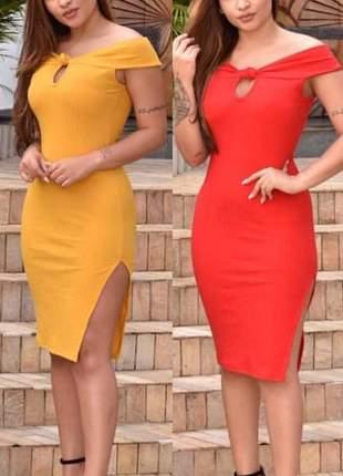 Vestido mídi fenda na lateral vermelho liso social ref 605