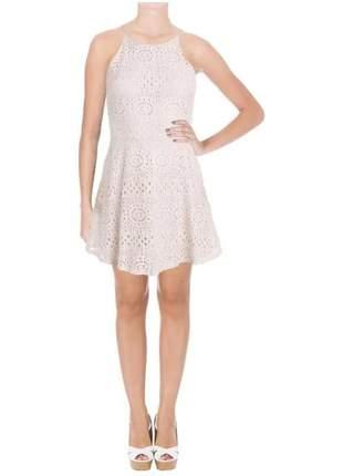 Vestido básico de renda aqua rosa claro