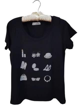 T shirt feminina preta
