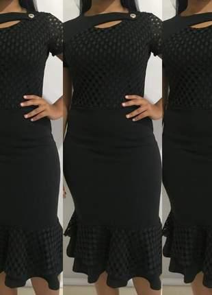 Vestido social moda evangélico babado ref 601