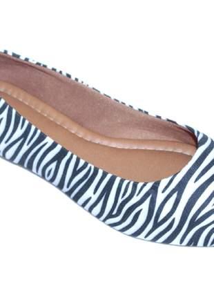 Sapatilha feminina animal print  preta branca zebra listrada