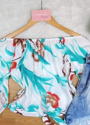 Blusa ciganinha cropped com amarração branca bs265