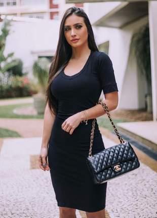 Vestido midi feminino manga curta viscolycra