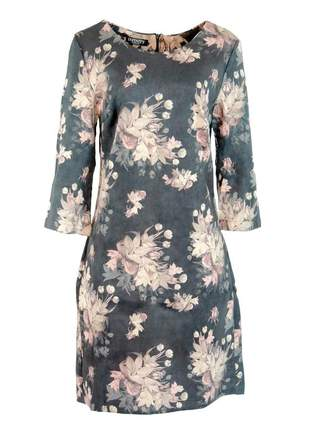 Vestido infinity fashion tubinho floral cinza