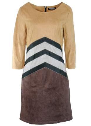 Vestido infinity fashion étnico suede caramelo