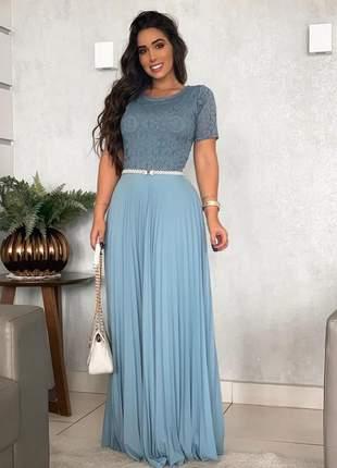 Vestido longo plissado manga curta
