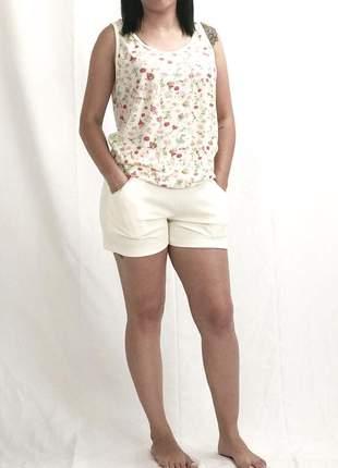 Pijama feminino curto com bolso glaju primavera/verão