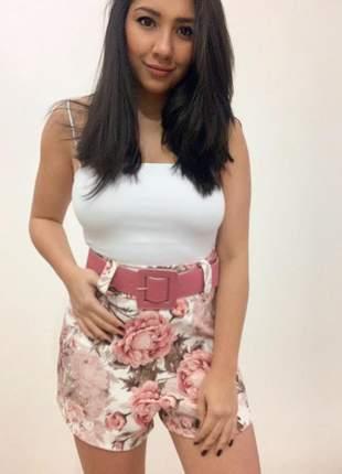 Shorts cintura alta estampa floral rosa com cinto
