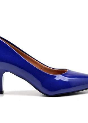 Sapato social feminino scarpins azul klim salto baixo fino