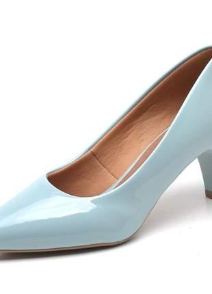 Sapato social feminino scarpins azul pistache salto baixo fino