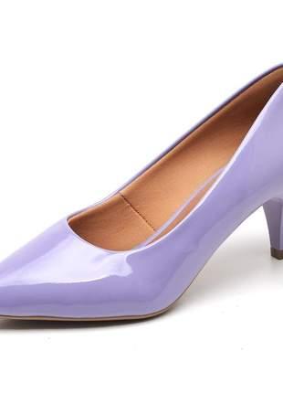 Sapato social feminino scarpins lavanda salto baixo fino