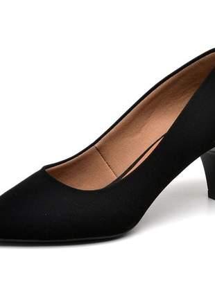 Sapato social feminino scarpins nobuck  preto baixo fino
