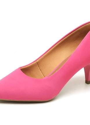 Sapato social feminino scarpins nobuck salto baixo fino