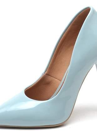 Sapato social feminino scarpins azul pistache  salto alto fino