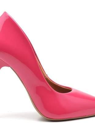 Sapato social feminino scarpins rosa chiclete salto alto fino