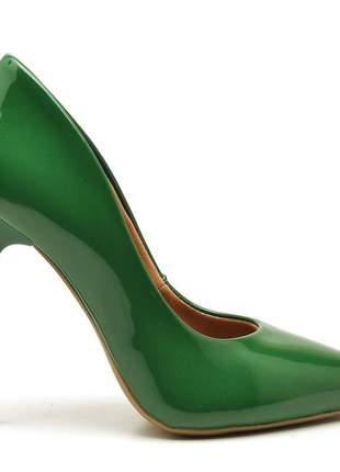 Sapato social feminino scarpins verde bandeira salto alto fino
