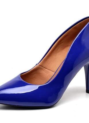 Sapato social feminino scarpins azul klim salto medio fino