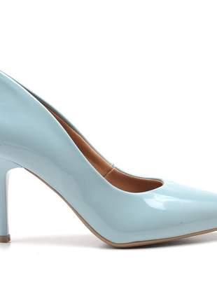 Sapato social feminino scarpins azul pistache salto medio fino
