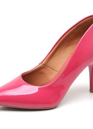 Sapato social feminino scarpins rosa chiclete salto medio fino