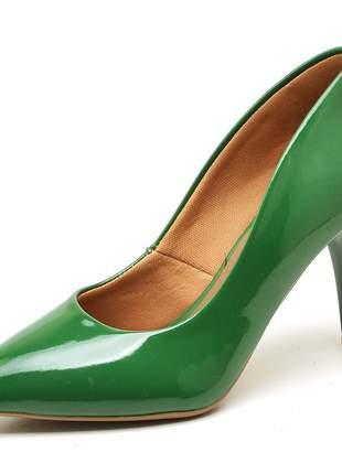 Sapato social feminino scarpins verde bandeira  salto medio fino