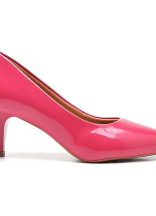 Sapato social feminino scarpins salto baixo fino rosa chiclete