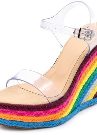 Sandália anabela salto alto transparente e salto colorido
