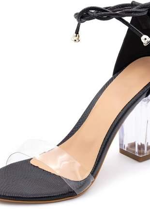 Sandalia feminina tira e salto grosso transparente preta amarrar na perna