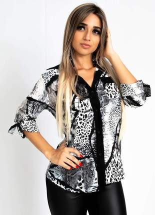 Camisa animal print manga longa