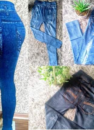 Calça legging feminina jeans fake sublimada (imita jeans)