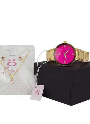 Kit relógio feminino  + colar + par de brincos  - luxo