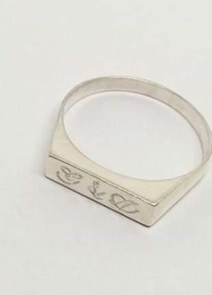 Anel chapinha personalizado em prata