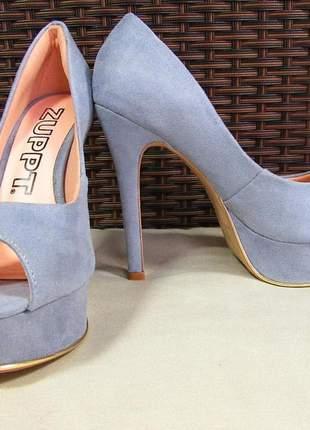 Sapato peep toe meia pata salto alto encapado tecido brilhoso glitter