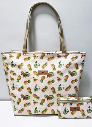 Kit bolsa estampa abacaxi