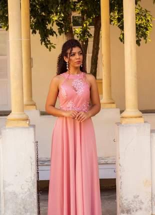 Vestido de festa rosê bordado longo casamento formatura
