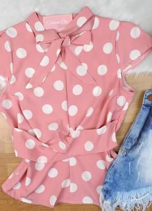 Blusa poá laço rosa bs278