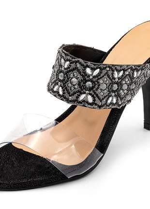 Sandália tamanco feminina social salto alto em transparência com detalhes bordado