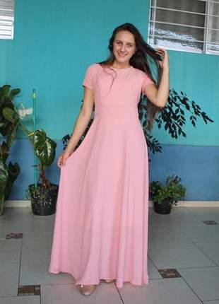 Vestido longo gode em crepe roupas evangelicas