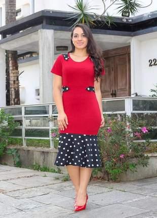Vestido moda evangélica babado bolinha ref 653