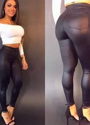 Legging preto cintura alta hot pants leg