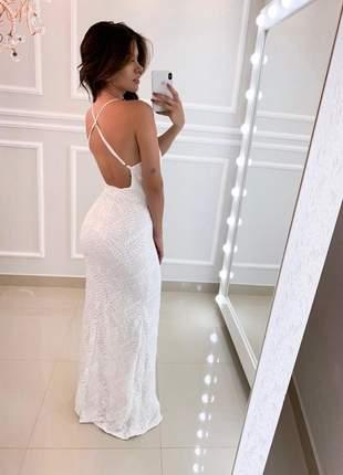 Vestido longo branco off white festa pre weeding casamento